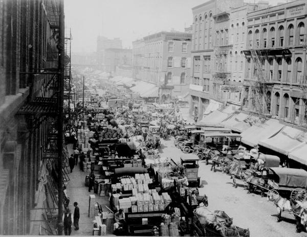 Looking West On South Water Street Chicago Crowded With